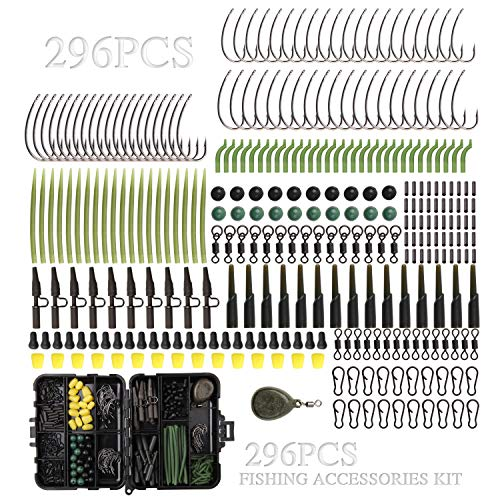 Carp Fishing Tackle Pocket Flip Box with 296pcs Rigs Lead Clips Hooks Carp Sleeves Link Swivels Rubber Copper Tubes Extender Stoppers Weights Corns Tube Beads Accessories Kit
