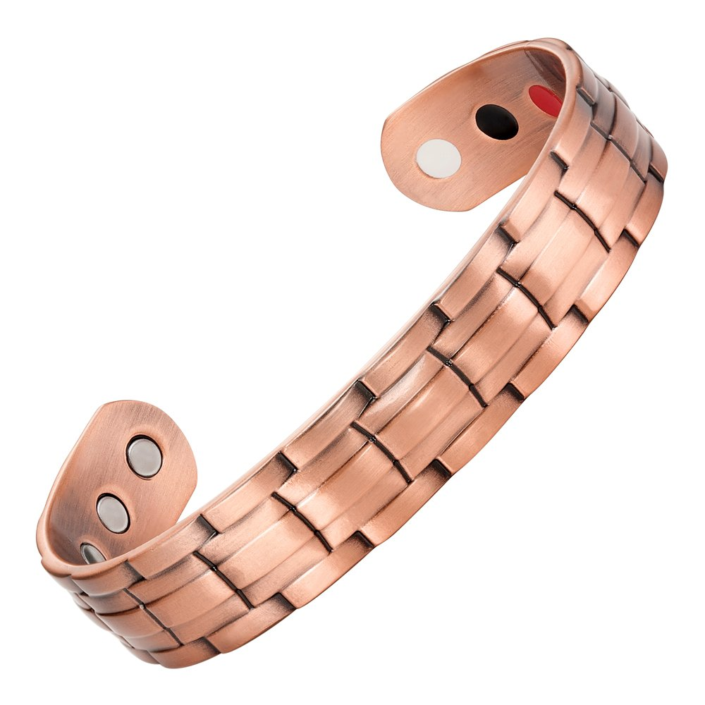 Willis Judd Men's Pure Copper Magnetic Therapy Ajustable Bracelet Bangle (Style 1)