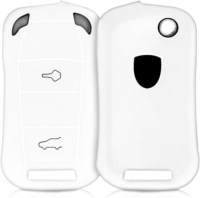 Kwmobile Autoschlüssel Hülle Kompatibel Mit Porsche 2 Tasten Autoschlüssel Nur Keyless Silikon Schutzhülle Schlüsselhülle Cover In Weiß Elektronik