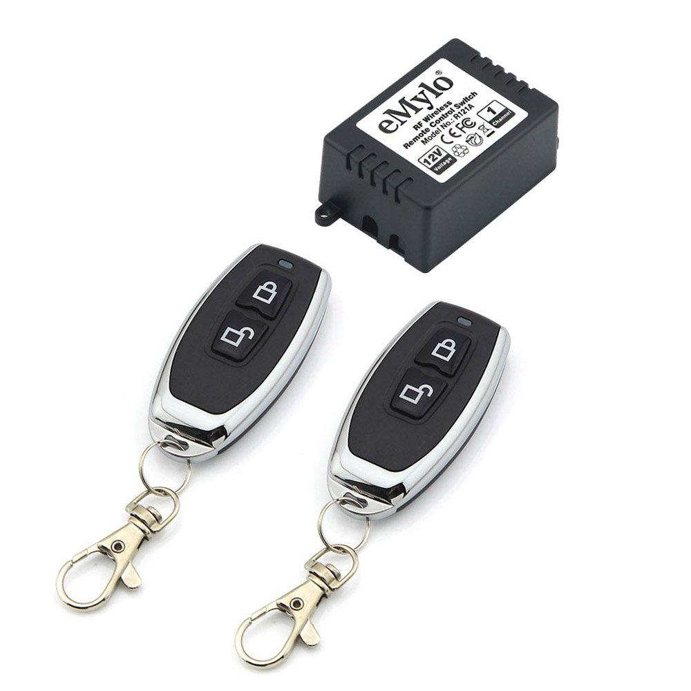 eMylo RF DC 12V 1 Channel One rel¨¨ Wireless Universal Remote codici Black colore trasmettitore EBM112B5E