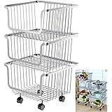 Storage Stacking-Bins Rolling Metal Wire-Market-Basket Pantry Organizer w/Wheels (3 Baskets)