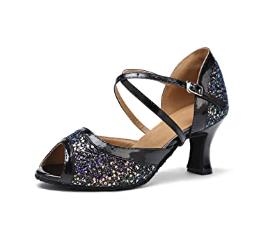 988ed632a17 Miyoopark Comfortable Low Heel Black Salsa Latin Dancing Shoes Wedding  Party Sandals for Femme US 4