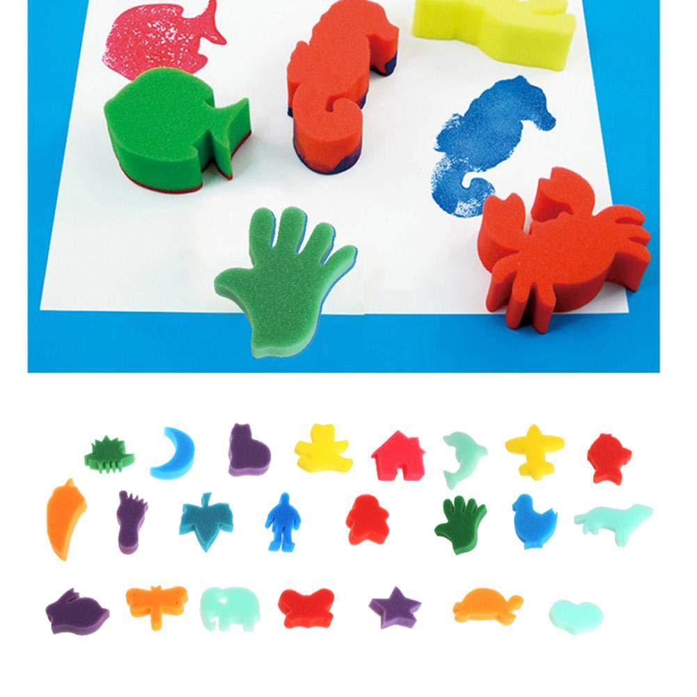 WXLAA Sponge Painting Set Children Kids Finger Paint Kit DIY Art Craft Toy School Education Learning Toy Stamps Foam Set 24Pcs by WXLAA (Image #3)