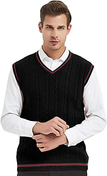 TopTie Mens Sweater Vest Basic Knit Sleeveless V-Neck Pullover Business Casual
