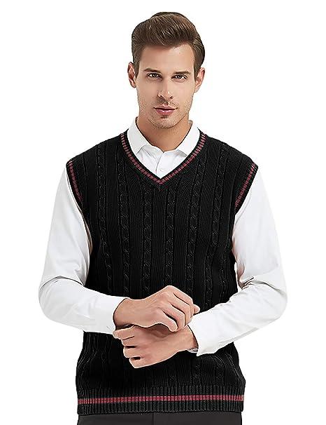 Fine Cotton Tank Top V Neck Knitted  Sweater Vest Pullover Cardigans Jumper Mens