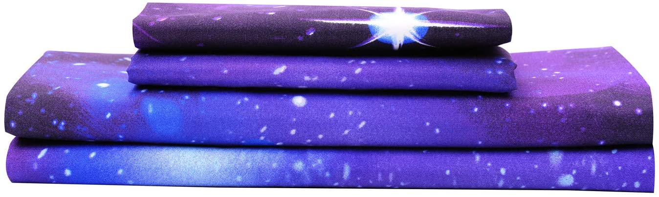 Bedlifes Galaxy Sheets Outer Space 3D Sheet Set Galaxy Theme Bedding sets 4PCS Bed Sheet& Fitted Sheet with 2 Pillowcases Purple King