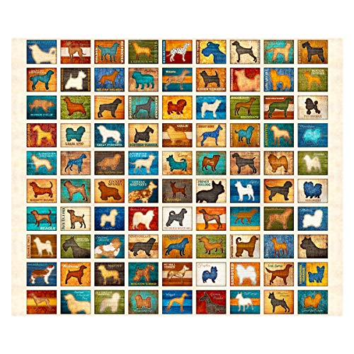 (QT Fabrics Must Love Dogs Dog Patch 36in Panel Oatmeal)