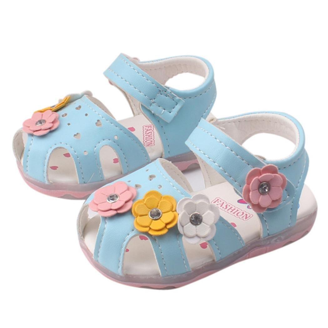 Mounter Chaussures de Filles, [avec Lampe] Fleurs Creux en Cuir Sandales Chaussures Bébé Princesse 0-4Ans