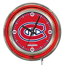 Holland Bar Stool NHL Montreal Canadiens Double Neon Ring 15-Inch Diameter Logo Clock