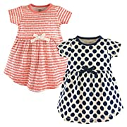 Touched by Nature Baby Girls' 2-Pack Organic Cotton Dress, Scribbles, 0-3 Months