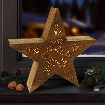 Bright Zeal 14quot Tall Five Pointed Shape Wooden Led Star Lights With 8h Timer