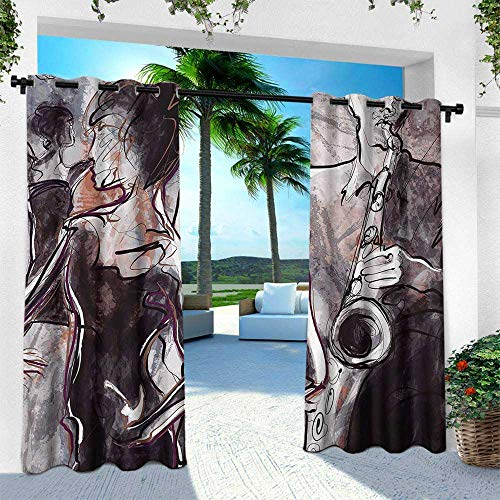 Hengshu Music, Outdoor Curtain Waterproof Rustproof Grommet Drape,Illustration of Jazz Man Playing The Saxophone with Dancers Classic Home Decor, W84 x L84 Inch, Pink Black White