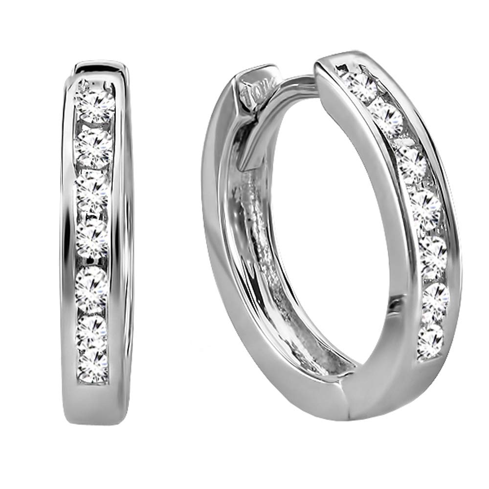 Dazzlingrock Collection 0.18 Carat (ctw) 10k Small Round Diamond Huggie Hoop Earrings, White Gold