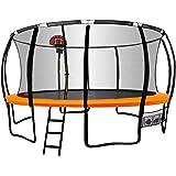 16ft Round Trampoline Basketball Set Safety Net Pad Spring Ladder KickDeck