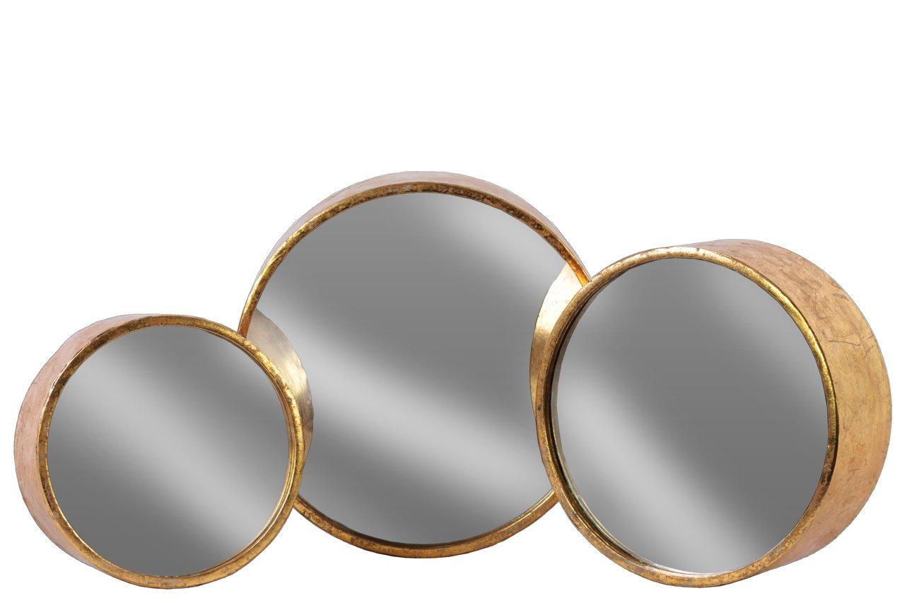 Urban Trends Metal Round Wall Mirror Set of Three Tarnished Finish Antique Rose Gold - Item Type: Mirror Item Material: Metal Item Finish: Tarnished Finish - bathroom-mirrors, bathroom-accessories, bathroom - 61zU4gE3YpL -