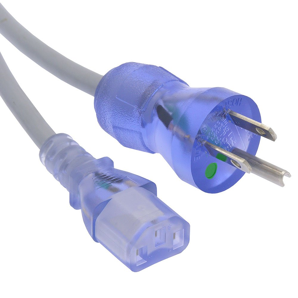 3Ft Hospital Grade Power Cord 5-15P to C13 SJT 16//3 Clear Blue GOWOS 20-Pack