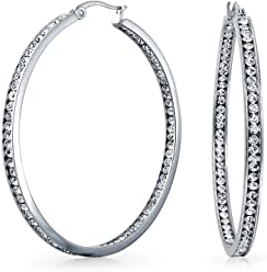 4add6108fa Round Channel Set CZ Inside Out Large Hoop Earrings For Women 14K Silver  Tone Stainless Steel
