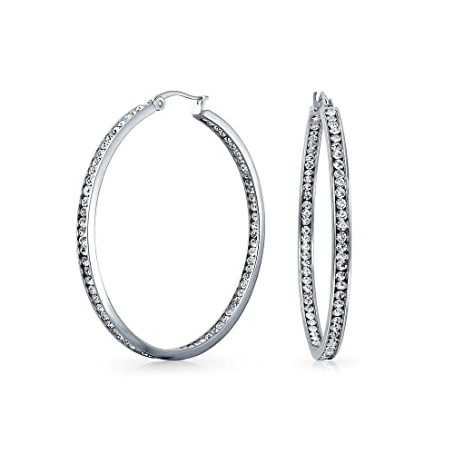 Bishilin Stainless Steel Channel Set Cubic Zirconia Silver Earrings for Women