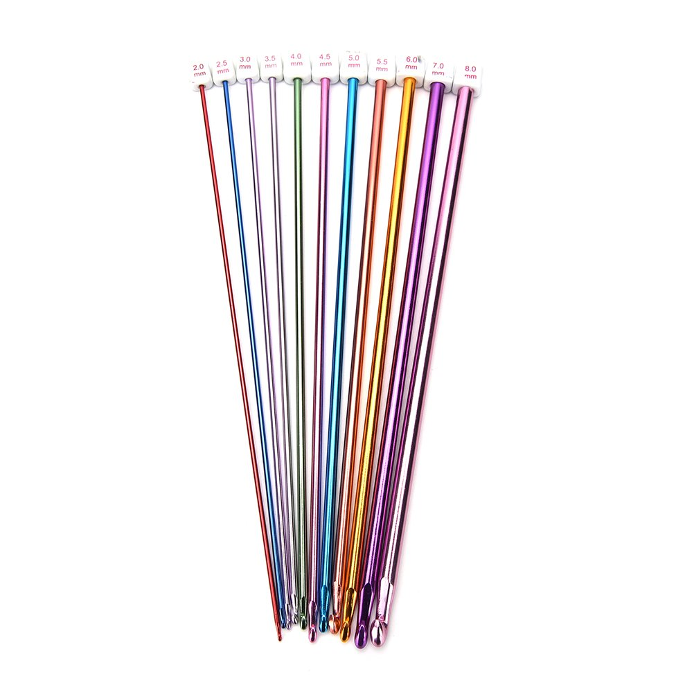 Buytra 11 Pieces Tunisian Afghan Crochet Hooks Aluminum Knitting Needles Set, Multicolor, 2 mm to 8 mm 4336922920