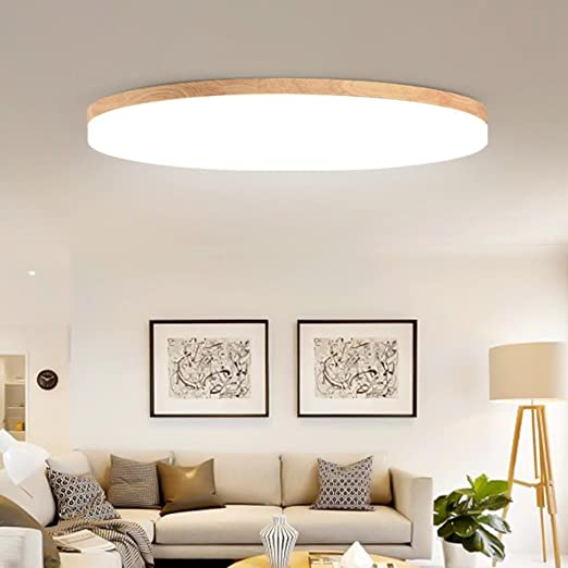 Lozse Ceiling Lamp Bedroom Lamp Round Modern Solid Wood Living Room Study Lamp Ultra Thin Led Ceiling Lamp Size 48cm Amazon Co Uk Lighting