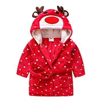 NaXinF peignoirs para niños algodón niños Infantil niño Niña Franela con Tapa Albornoz de baño Toalla de baño de Navidad Ciervo Albornoz de Noche camisón: ...