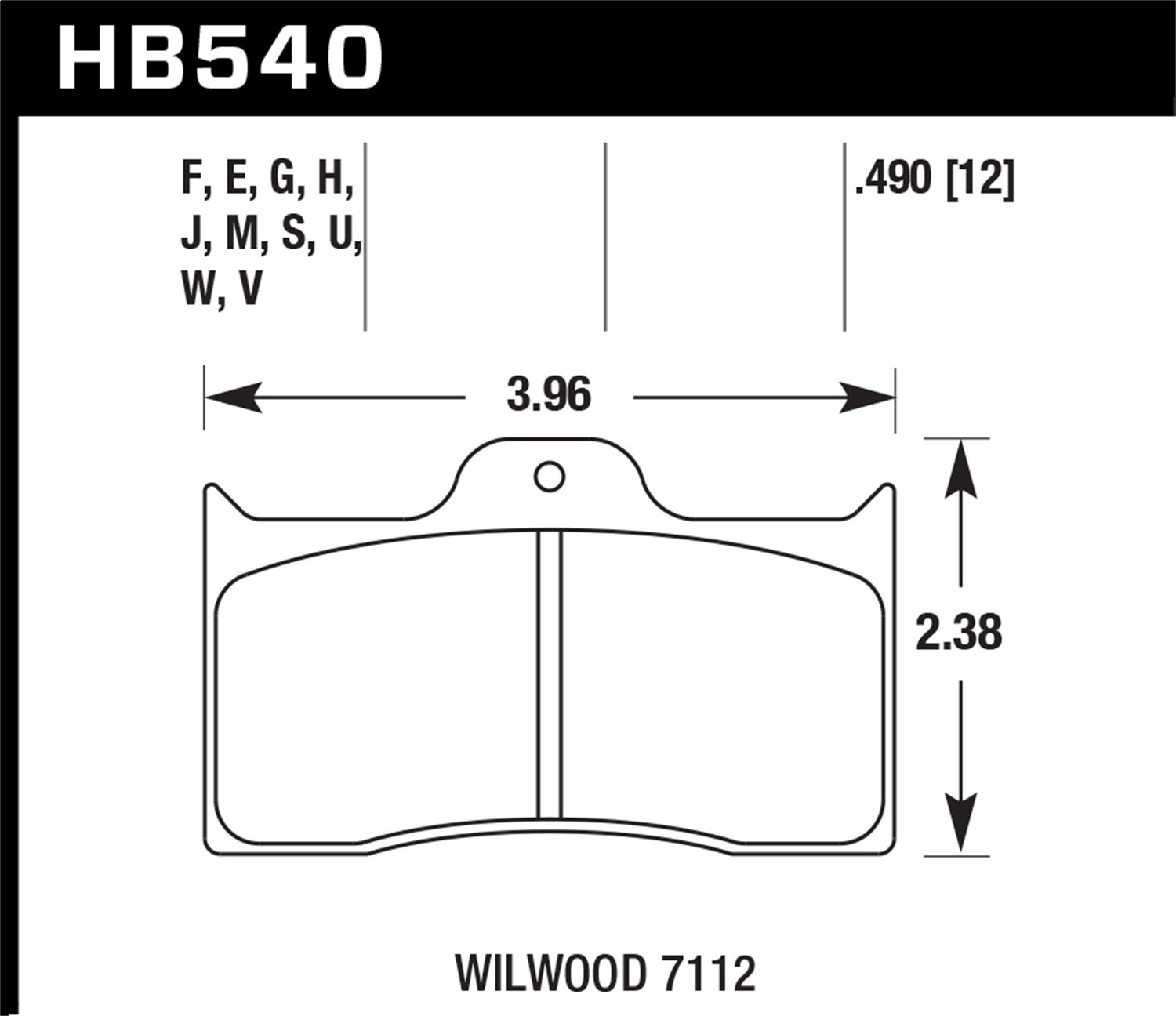 Hawk Performance HB540U.490 Disc Brake Pad