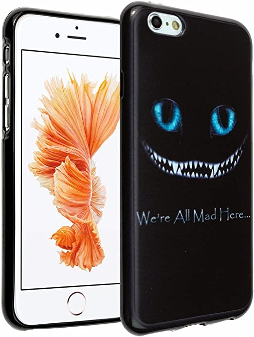 iPhone 6s Case, DURARMOR iPhone 6 Case Alice in Wonderland We're all mad here Cheshire Cat Smile Face Soft Flexible TPU Bumper Case Ultra Thin ...