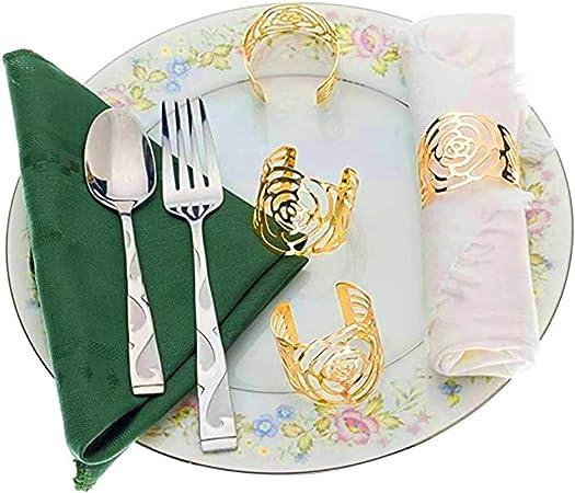 tavolo in metallo decorazione quotidiana per sala da pranzo Set di 12 anelli da tovagliolo argento