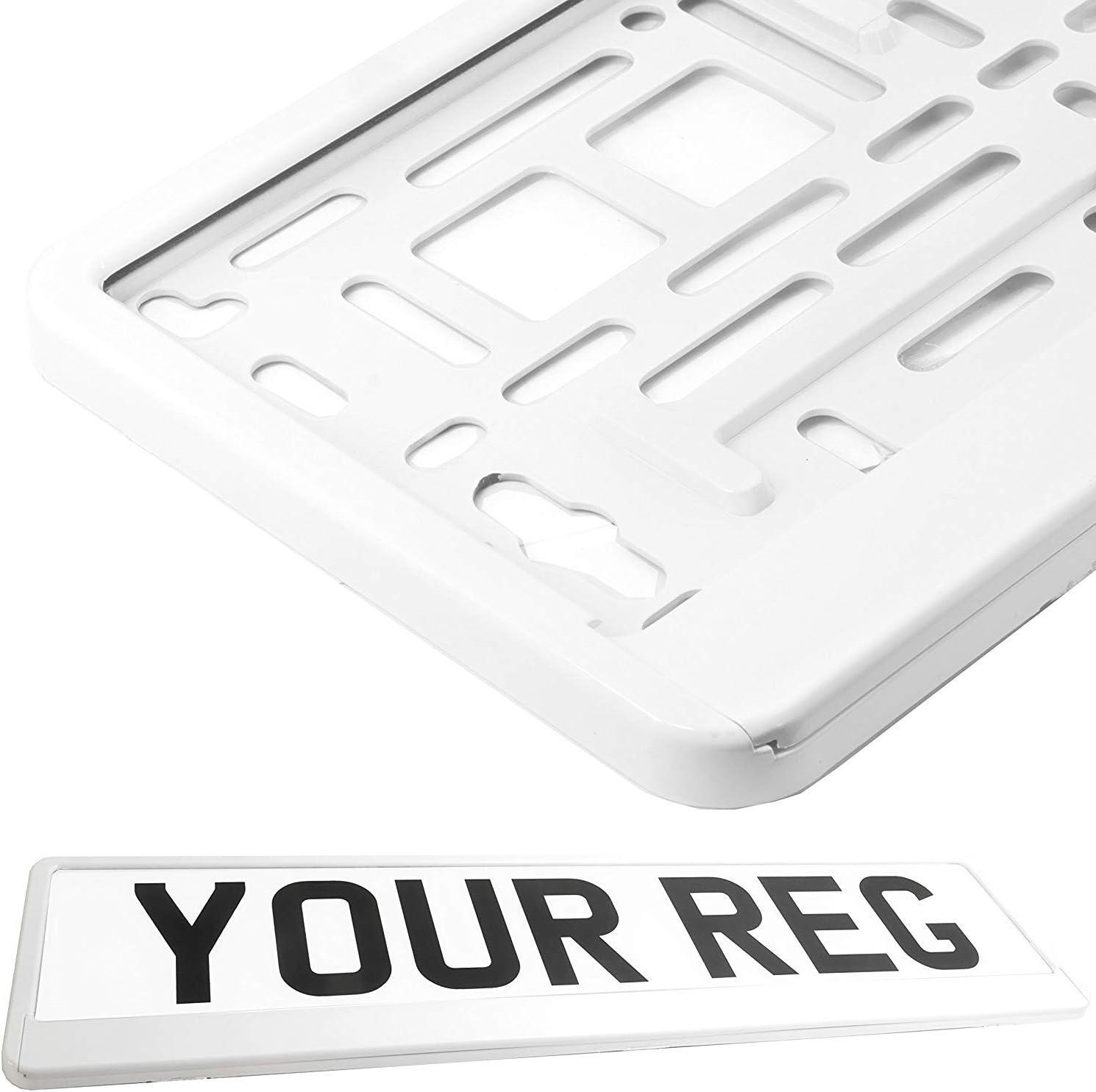 2 X Kennzeichenhalter Weiss Kennzeichenhalterung Weiß Im Set Mit 4 Befestigungsschrauben Montageanleitung Neue Kfz Schein Schutzhülle Alles Neu Ovp Auto