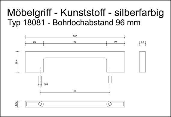 10x  ROTE Schwinn Möbelgriffe 96 mm Bohrlochabstand Kunststoff
