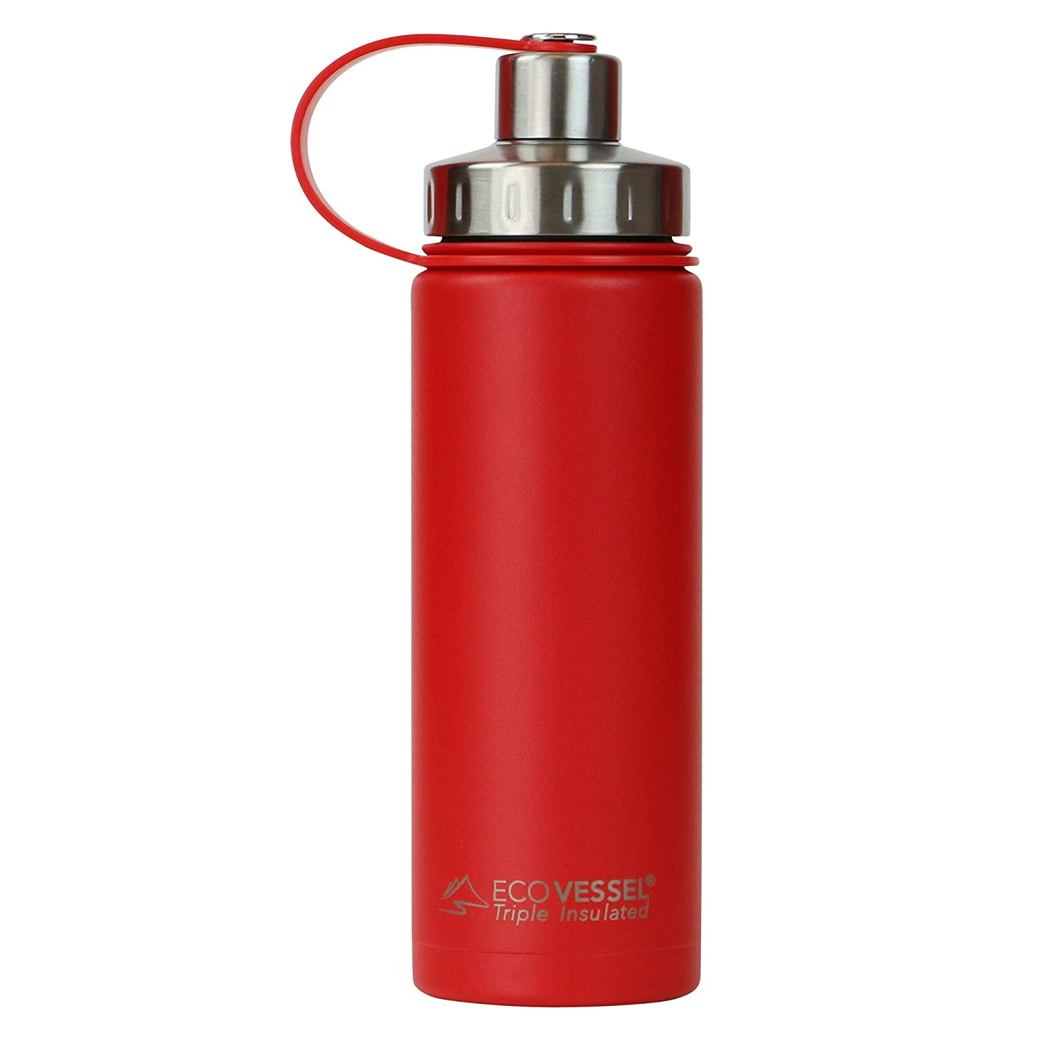 EcoVessel BOULDER TriMax Vacuum Insulated Stainless Steel Water Bottle with Versatile Stainless Steel Top and Tea, Fruit, Ice Strainer - 20 ounce - Jazz Red
