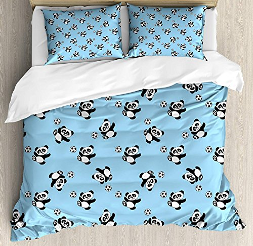 (LEO BON Soccer Duvet Cover Set Full Size, Cute Panda Player Kicking a Ball Kids Boys Design Fun Animal Pattern Floral Duvet Cover and Pillow Shams Bed Set, Pale Blue Black White)
