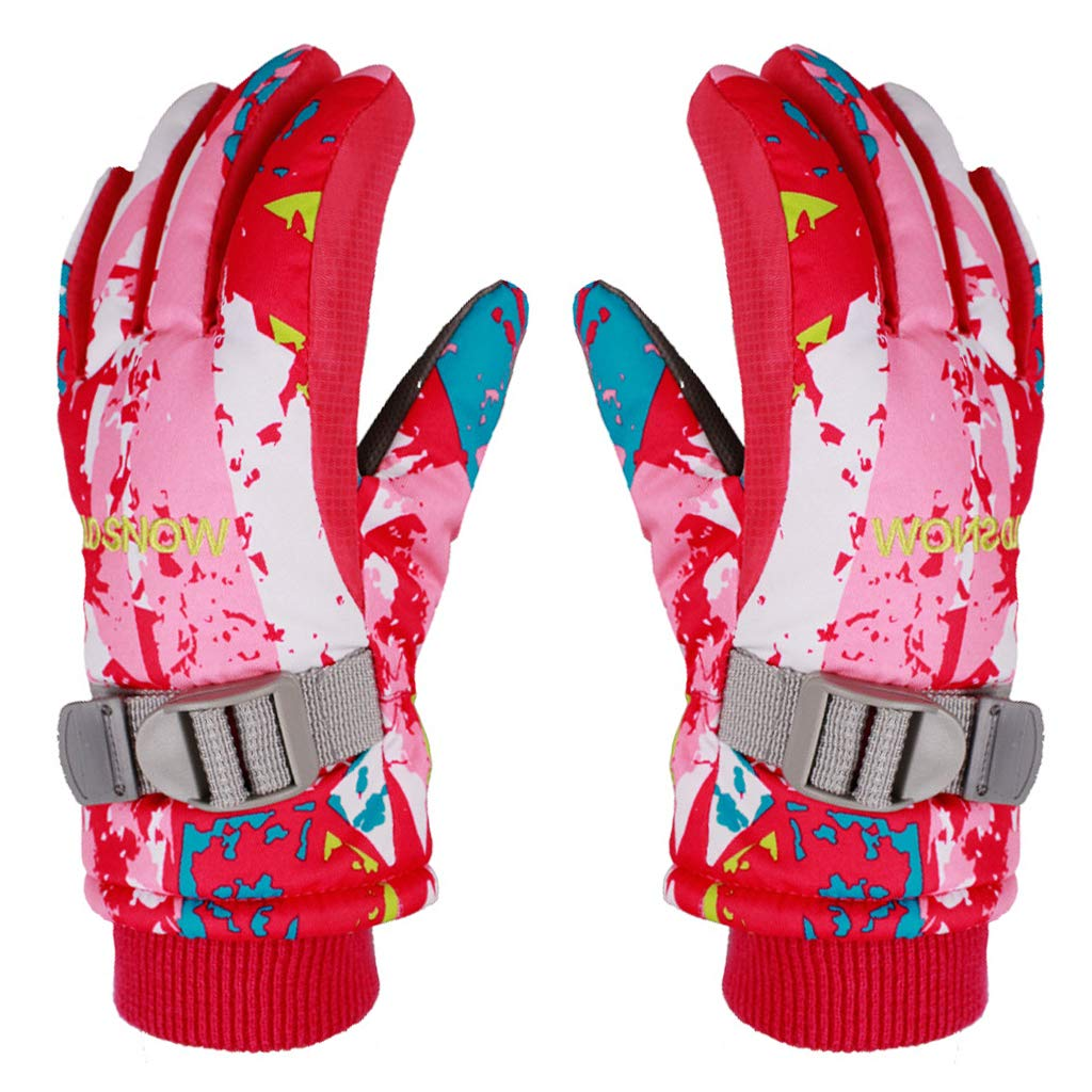 Boys Girls Winter Ski Gloves Waterproof Outdoor Sport Warm Windproof Anti-Slip