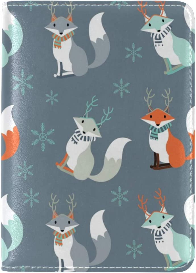 LEISISI Cute Foxes Genuine Real Leather Passport Holder Cover Travel Case