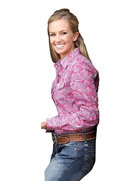 2b83854a468303 Cinch Western Shirt Womens Long Sleeve Paisley Snap M Pink MSW9200016:  Amazon.ca: Clothing & Accessories