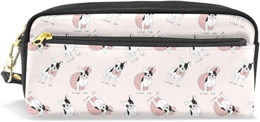 Bulldog francés modelo de la muchacha de cuero de la PU estuche de lápices escolar pluma bolsos de papelería bolsa de la bolsa de gran capacidad de maquillaje bolsa de cosméticos: Amazon.es: