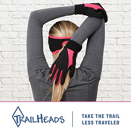 TrailHeads Running Gloves for Women | Lightweight Gloves with Touchscreen Fingers -Black/Bright Coral (Medium) by TrailHeads (Image #2)