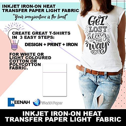 Inkjet Iron-On Heat Transfer Paper or Light fabric - Purple Line - 50 Sheets - 8.5' x 11'