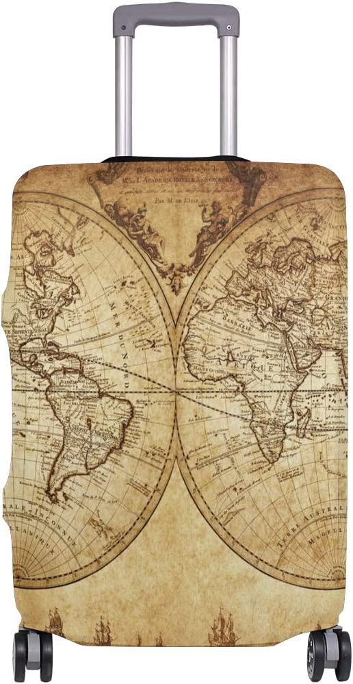FOLPPLY Retro Old World Map Luggage Cover Baggage Suitcase Travel Protector Fit for 18-32 Inch