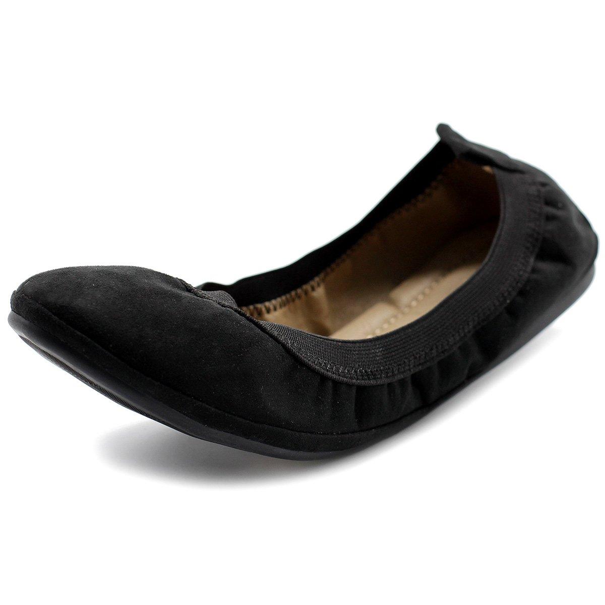 Ollio Women's Shoe Faux Suede Comfort Ballet Flat BN16(8 B(M) US, Black)