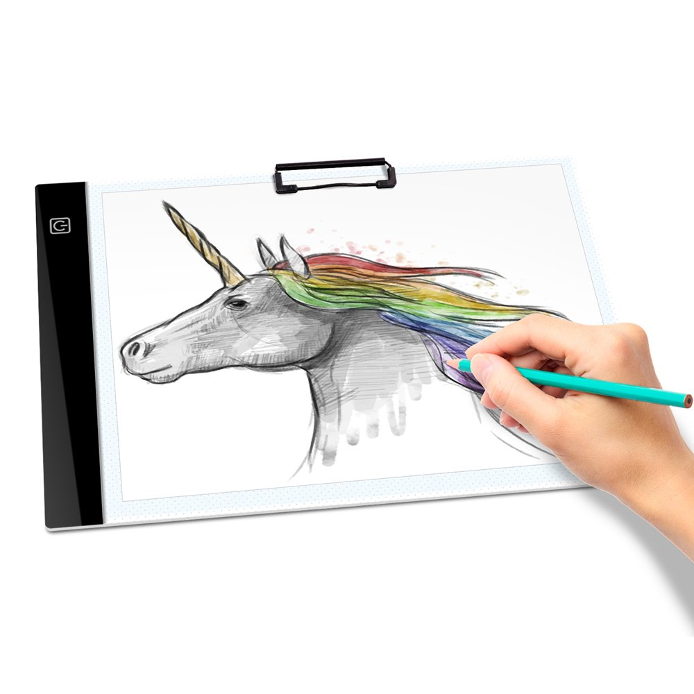 A4 LED Tracing Light Box Tracer USB Power 0.4CM Thin Portable 3-Level Brightness Eye-protected Pad Board Digital Gifts for Kids Artists,Drawing,Animation,Tattoo with Paper Clip