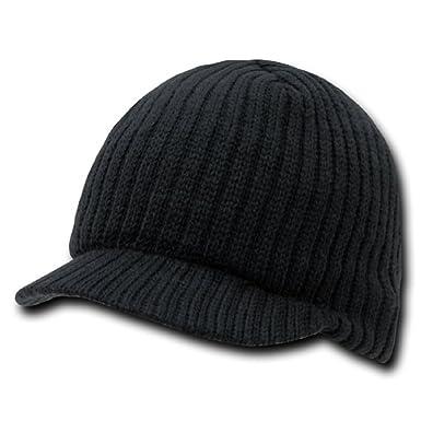d3b4e748ab9a4 Plain Visor Beanie Knit Ski Cap Hat Warm Solid Color Winter Cuff .