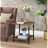 Vintage Brown/Metal Frame 2-tier Industrial Style Side End Table by eHomeProducts