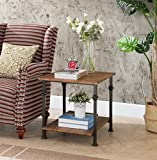 Cheap Vintage Brown/Metal Frame 2-tier Industrial Style Side End Table by eHomeProducts