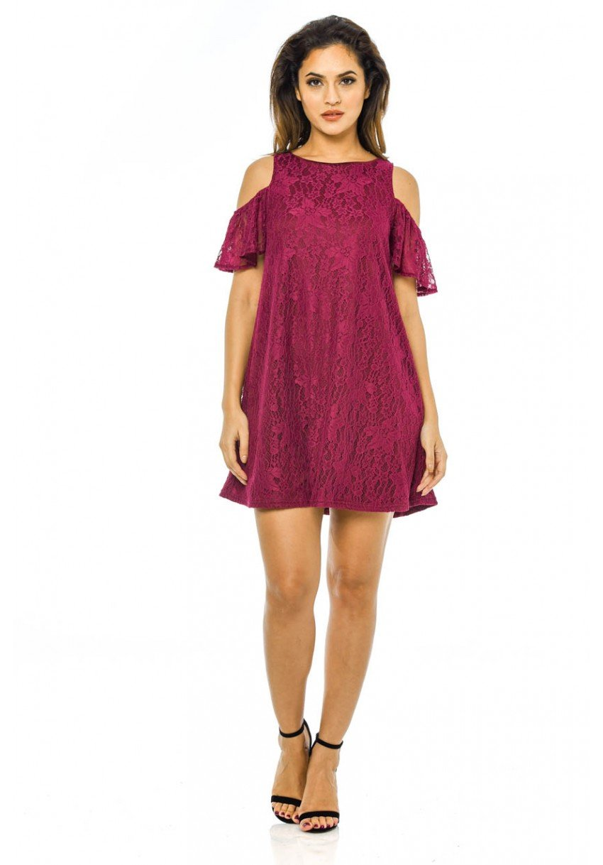 AxParis AX Paris Womens Lace Cold Shoulder Swing Dress at Amazon Womens Clothing store: