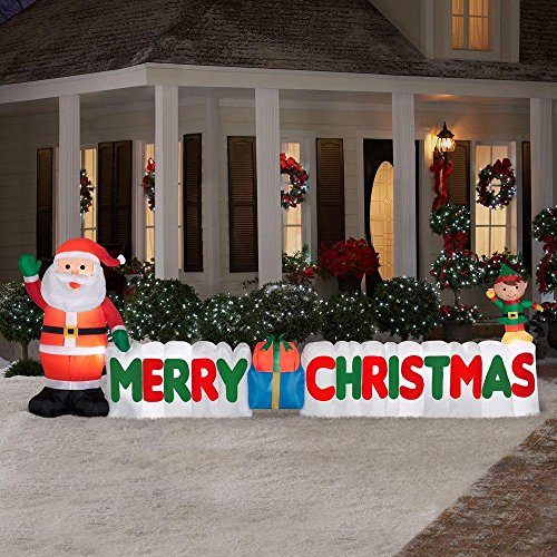amazoncom 12 ft long outdoor inflatable merry christmas sign w santa clause elf great lawn or yard holiday decor w light perfect accent to other