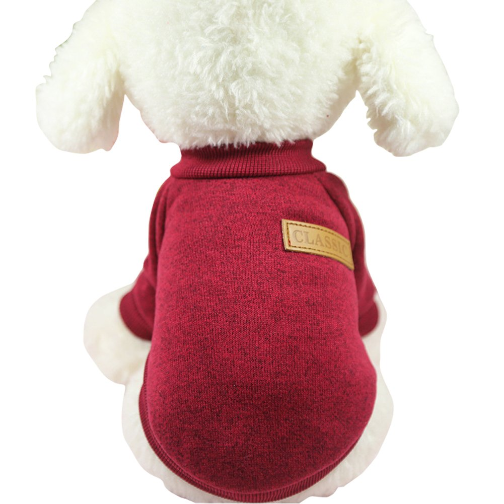 CHBORLESS Pet Dog Classic Knitwear Sweater Warm Winter Puppy Pet Coat Soft Sweater Clothing for Small Dogs Wine red)