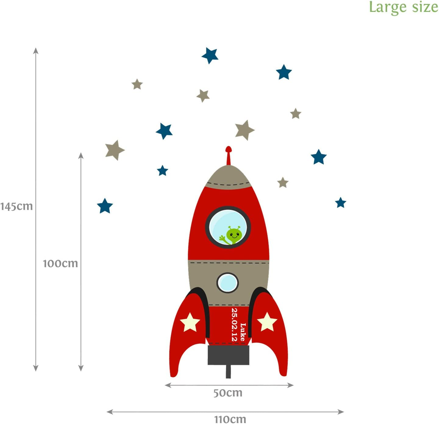 Large Size in Blue Blast Off Rocket Wall Sticker Perfect for Creating a Space Themed Nursery or Bedroom