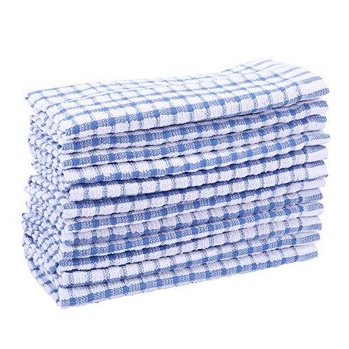 Kitchen Towels Bulk 100 Cotton Kitchen Dish-Cloths Scrubbing Dishcloths Sets 11x17 Inch 12pcs (Blue)