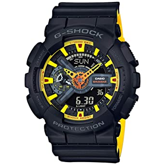 Casio G-shock Analog Digital Black and Yellow Mens Watch With Date and 200 Meter